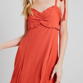take your time ruffled sweetheart dress in brick