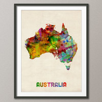 Australia Watercolor Map, Art Print 18x24 inch (437)