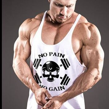 Gyms Clothing Fitness Singlets Men Bodybuilding Stringers Tank Tops NO PAIN NO GAIN Sleeveless Shirt Muscle Vest Golds tank tops