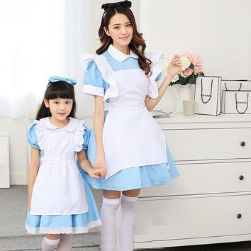 Women Adults Alice In Wonderland Costume Suit Halloween Maid Costumes Sky Blue Lolita Dress Maid Cosplay For Girls Children Kids