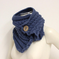 Denim Blue Cowl, Chunky Knit Scarf, Wool Neck Warmer, Blue Winter Scarf, Wood Button Scarf, Merino Wool Scarf, Blue Chunky Cowl
