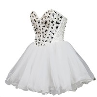 Faironly White 2013s1 Homecoming Mini Party Cocktail Formal Dress (S, White)