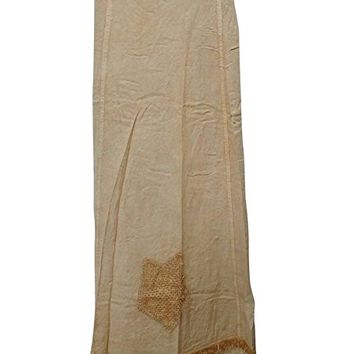 Mogul Womens Wrap Skirts Vintage Stonewashed Floral Embroidered Beige Wrap Around Skirts