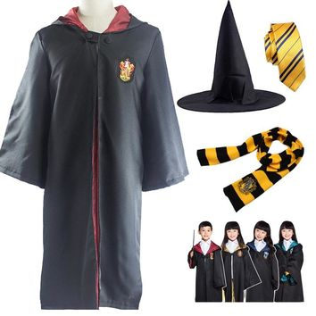 Kid Adult Costume Gryffindor Ravenclaw Hufflepuff Slytherin Clothes Robe Cloak Clothing with Tie Scarf for Harri Potter Cosplay