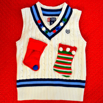 Size 8 Ugly Christmas Sweater vest, kids, boys or girls, v neck with stockings