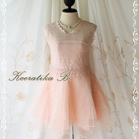 Kiss The Night - Party Wedding Bridesmaid Prom Cocktail Night Dancing Dress Light Pink Color Organza Skirt Delicate Princess Romance Dress