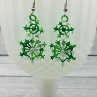 Christmas snow flake free standing lace embroidered earrings, wire earrings, dangling earring, jewelry, accessories holiday winter snowflake