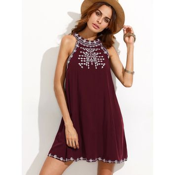 Embroidered Cutout Tie Back Halter Swing Dress