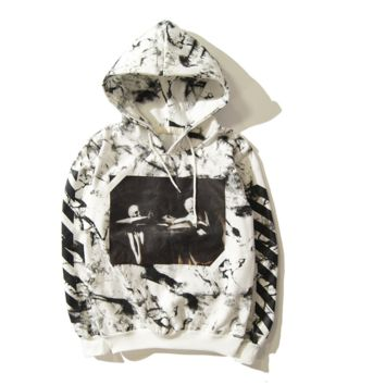 Off White Marble pattern religious print Hooded Hooded Sweater