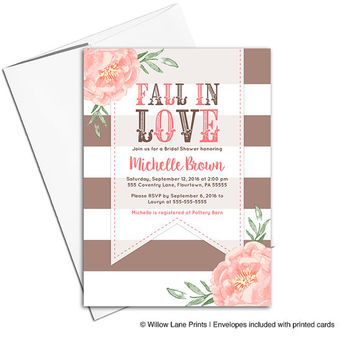 Country Fall bridal shower invitations flowers | fall in love bridal shower invites floral | brown coral | printable or printed - WLP00653