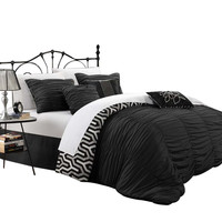 Lassie Pleated Ruffled Reversible 7 Piece Comforter Set King & Queen Black