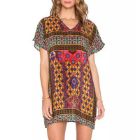 Tribal Diamond Print Short Sleeve Mini Dress