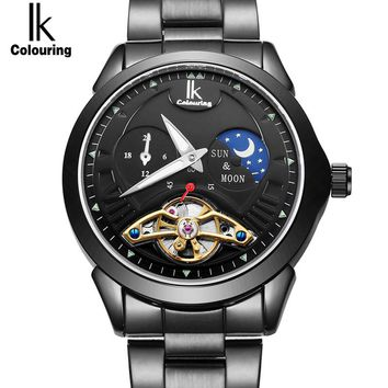 IK 24 hours Moon Phase Black Men's Skeleton WristWatch Stainless steel Antique Steampunk Automatic Skeleton Mechanical Watches