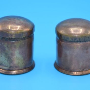 Copper Felt Containers Set Vintage Pair Cylindrical Copper Cans Lids Miniature Copper Storage Dollhouse Copper Pot Container Primitive Ware