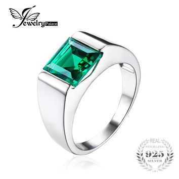 Jewelrypalace Men's Square 2.2ct Green Created Emerald Engagement Ring 925 Sterling Sliver for Men Fashion Jewelry