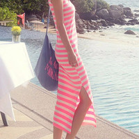 Casual Pink & White Striped Maxi