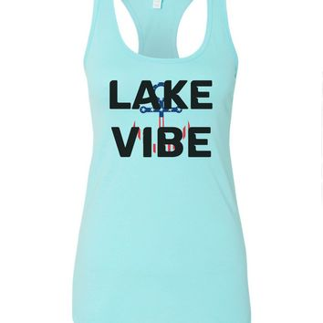 Womens Lake Vibe Grapahic Design Fitted Tank Top