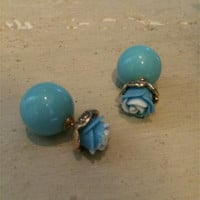 Turquoise Rose Double Sided Stud Earrings
