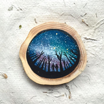 Nebula Starry Night with Lovers // Twine Hanging OR Magnet // Hand Painted // Wood Ornament