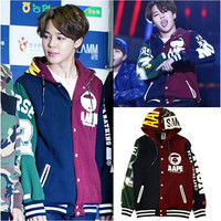 Kpop BTS JIMIN baseball uniform coat hoody with hat