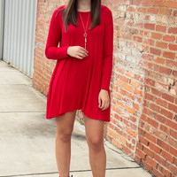 The Essentials Long Sleeved Dress - Red