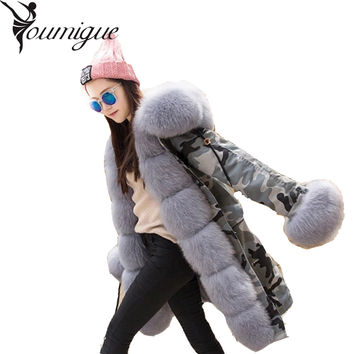 YOUMIGUE Real Rex Rabbit Fur American Army Parkas with Thick Fox Fur Collar Long Women Military Coat Hooded Wadded Jacket