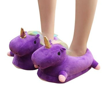 Winter Warm Women Unicorn Slippers Slippers Fluffy Softwares Shoes