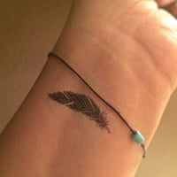 Feather Temporary Tattoo Tiny / Fake Tattoos / Set of 4