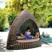Ocean Wave Rattan Relax Hut With Cushion