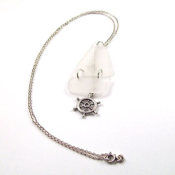 White Sea Glass Necklace; Boat Pendant & Ship Wheel Charm, Sterling Silver Chain, 18 Inch Necklace; Nautical Jewelry, Hand Made Gifts