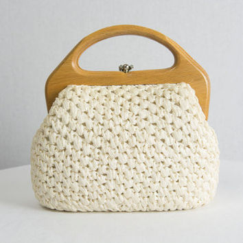 Vintage 1950s White Raffia Handbag Tiki Pin-up Purse