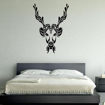 Wall Decal Vinyl Sticker Room Tattoo Decor Floral Abstract Decorative Cow Head 1375