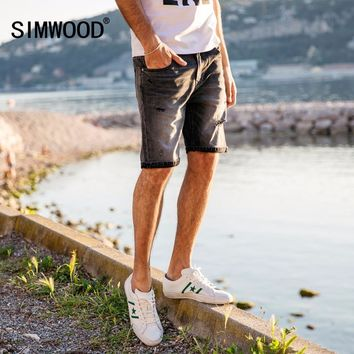 SHORTS Denim Shorts Men Hole Ripped Enzyme Wash Jeans Slim Fit Fashion Casual Brand Clothing