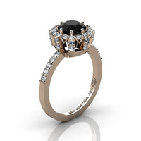 Classic Bridal 14K Rose Gold 1.0 Ct Black and White Diamond Solitaire Ring R408-14KRGDBD