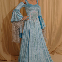 Turquoise blue medieval handfasting fantasy wedding dress  hobbit custom made