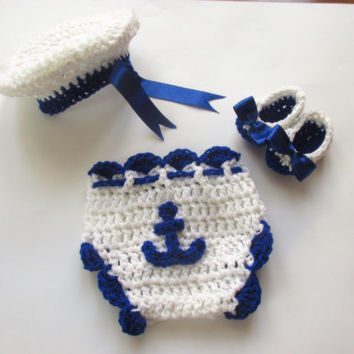 Crochet Sailor outfit - Newborn up to 12 months - Diaper Cover, hat and ballerina shoes ,Photo Prop