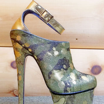 Wynne Camo Gold Pony Hair Platform High Heel Shoe