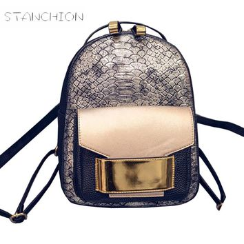 Backpack Faux Leather Women Daily Portable Rucksack Serpentine Lady Vintage Shoulder Bag School Mochila Feminina
