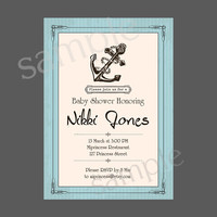 Vintage Anchor Baby Shower Invitation Nautical Baby birthday invite Boy Shower Invite party Invitation Card Design - card 62
