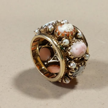Antique Cameo Ring 14k Cameo Band Gold Ring Ornate Heavy Wide Band Spectacular Ring Multi Stone Cameos Adorned with Petite Pearls. just Wow!