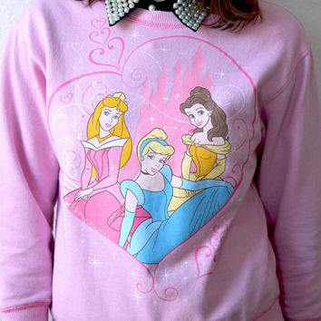DISNEY PRINCESS Pastel Goth Crew neck Screenprinted Sweater XS S M