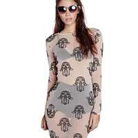 Printed Long Sleeve Bikini Cover-up Bodycon Mini Dress