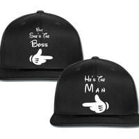 he's the man but she is the boss couple matching snapback cap
