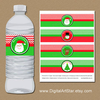 Christmas Water Bottle Labels - DIY Printable Christmas Water Wrappers - Santa Drink Labels - INSTANT DOWNLOAD