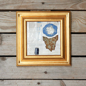 Gold framed art / recycled upcycled minimalistic wall art / white gold blue small square artwork / found objects art