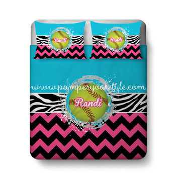 Softball Custom Bedding - Chevron and Softball Bed - Personalize with Name or Monogram - Pick Your Colors