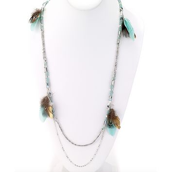 Bohemian Necklace with Feathers