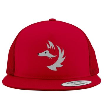 Fox Face Embroidered Trucker Hat