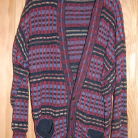 Vintage 80s Generra Mens Graphic Oversize Button Front Cosby Plaid Cardigan Sweater Mens Size Medium