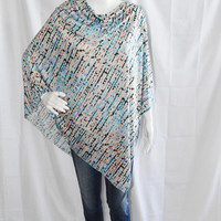 Abstract Design Poncho/ Nursing Cover/ Lightweight Shawl/ Off the Shoulder, One Shoulder Boho Top/ Mint, blue, and peach Oversized poncho